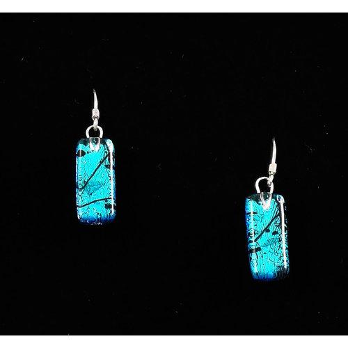 Mere Glass Dichroic Glass Drop earrings Turuqoise 15