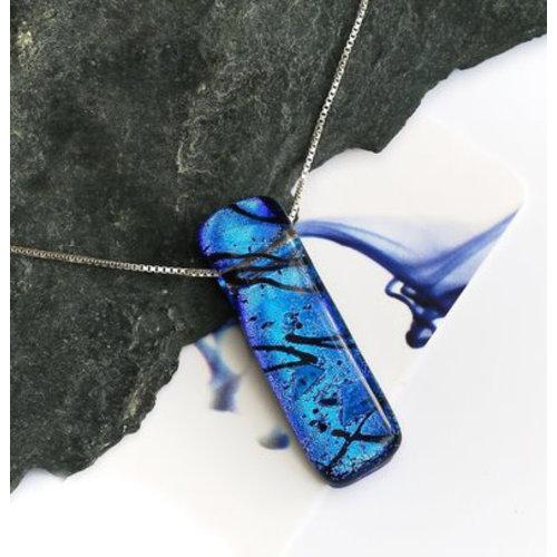 Mere Glass Colgante de vidrio dicroico Liliput azul profundo 06