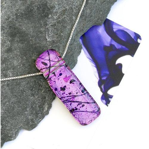 Mere Glass Dichroic Glass Pendant Magenta Pink Liliput  07
