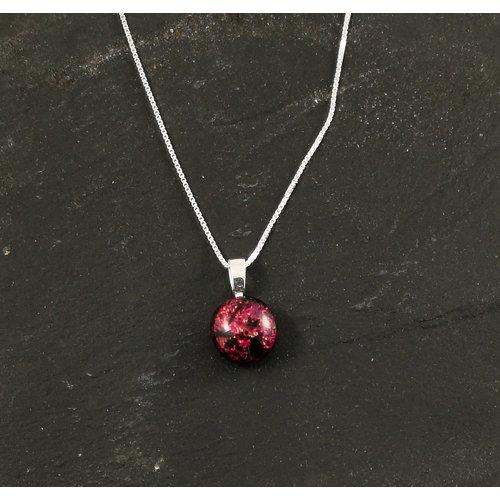 Mere Glass Dichroic Glass Round Pendant Ida pink purple11