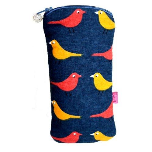 LUA Estuche Glases Algodón Estampado Birds Gasolina 202