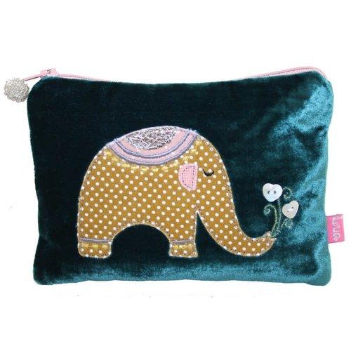 LUA Elephant Applique Velvet purse Dark Turquoise 171
