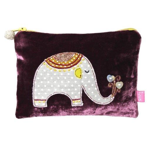 LUA Elefantenapplikation Samtbeutel Mulberry 170