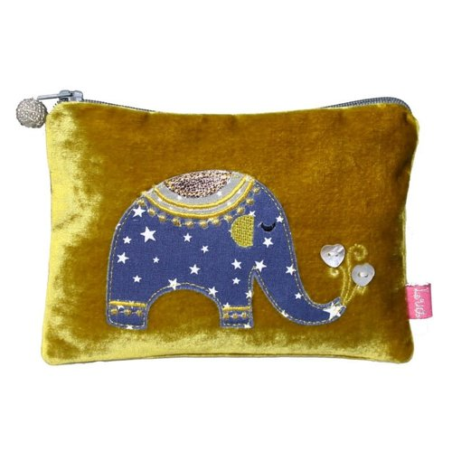 LUA Elephant Applique Velvet purse Mustard 173