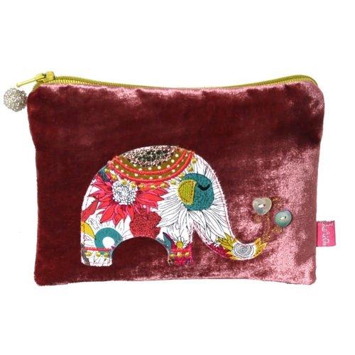 LUA Bolso de terciopelo con apliques de elefante Palisandro 172