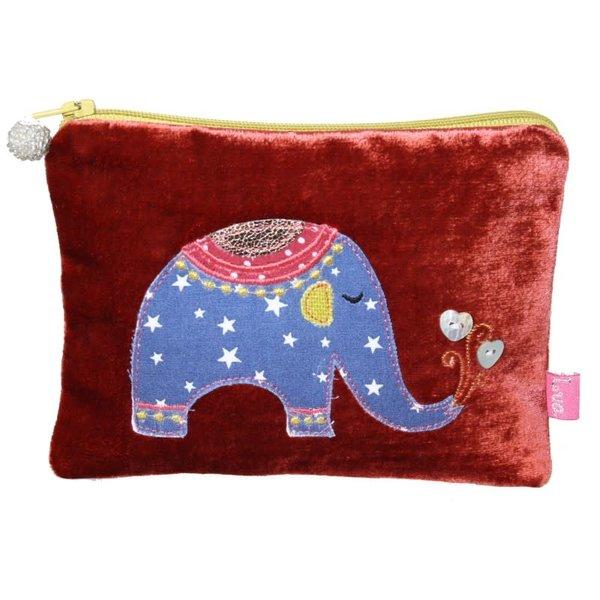Elephant Applique Velvet purse Rust 168