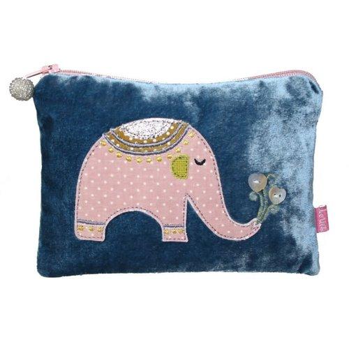LUA Elephant Applique Velvet purse Teal 169