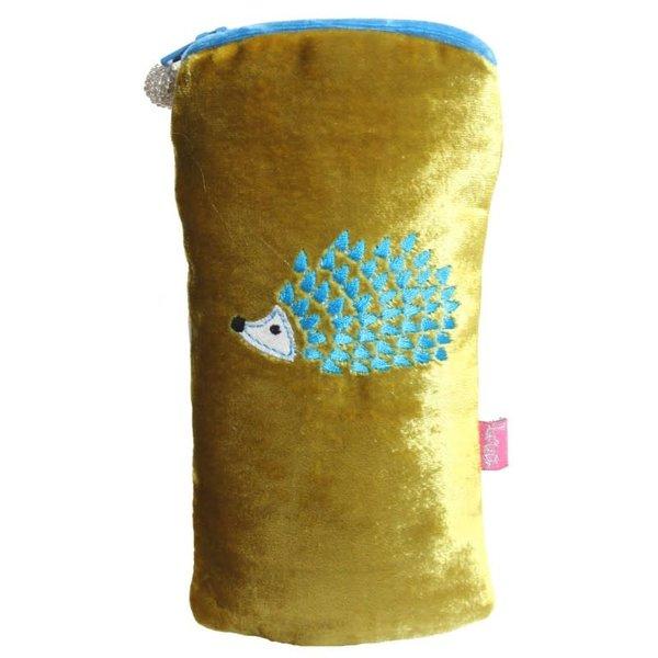 Hedgehog Embroidered  Velvet Glases case Mustard199