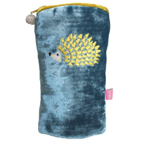 LUA Hedgehog Embroidered  Velvet Glases case Petrol Blue 198