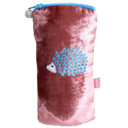LUA Hedgehog Embroidered  Velvet Glases case Rosewood 200