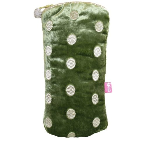 LUA Ovals Embroidered Velvet Glases case Olive 195