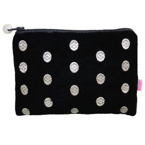 LUA Ovals Embroidered Velvet purse Black 177