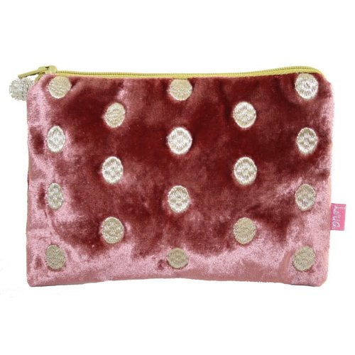 LUA Ovals Embroidered Velvet purse Rosewood 176
