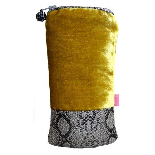 LUA Schlangenleder Banded Velvet Brillenetui Mustard 196