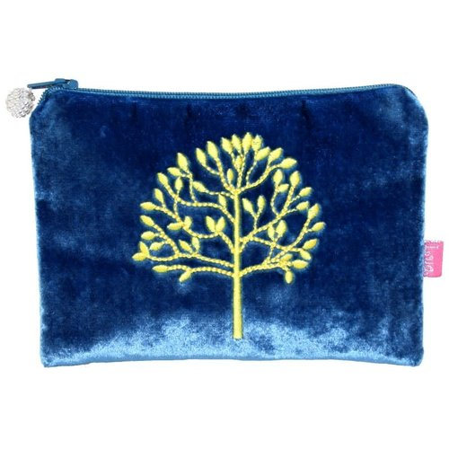LUA Tree Embroidered Velvet purse Cobalt Blue 178
