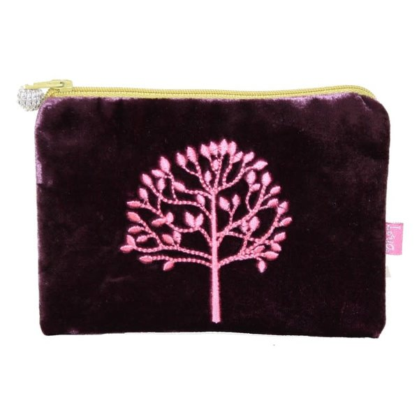 Mulberrry Tree Embroidered Velvet purse Purple 179