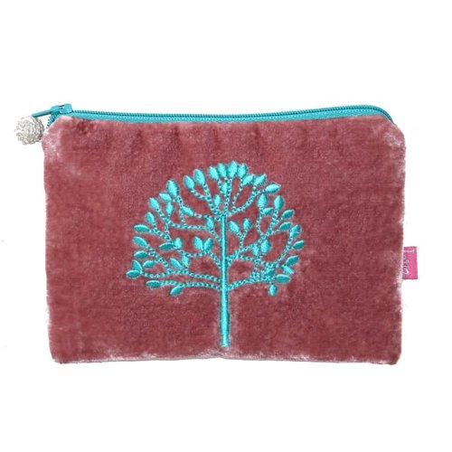 LUA Tree Embroidered Velvet purse Pink 180