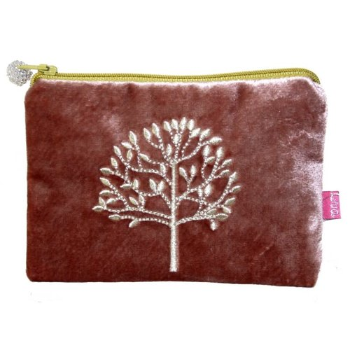 LUA Tree Embroidered Velvet purse Sienna 181