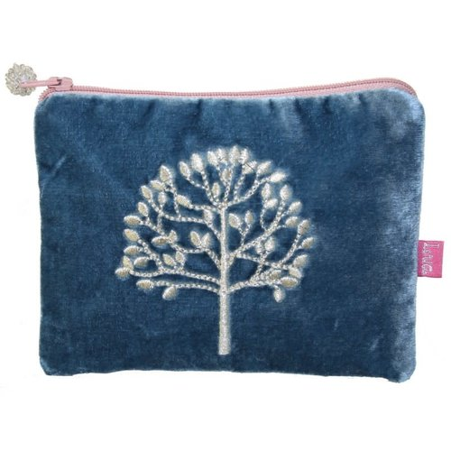 LUA Tree Embroidered Velvet purse Teal 182