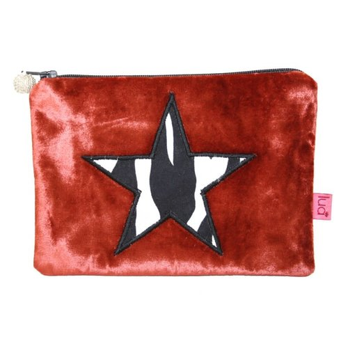 LUA Zebra  print Star Velvet purse Rust 191