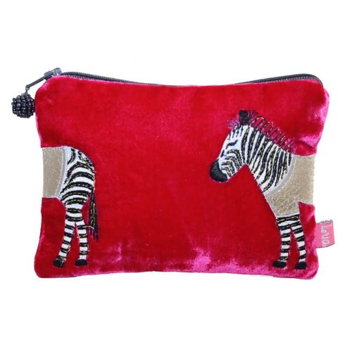 LUA Zebra Applique Velvet purse Hot Pink 166