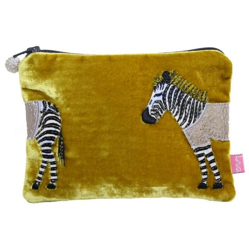 LUA Zebra Applique Velvet purse Mustard 165