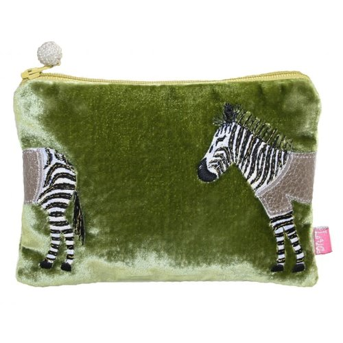 LUA Zebra Applique Velvet purse olive 164