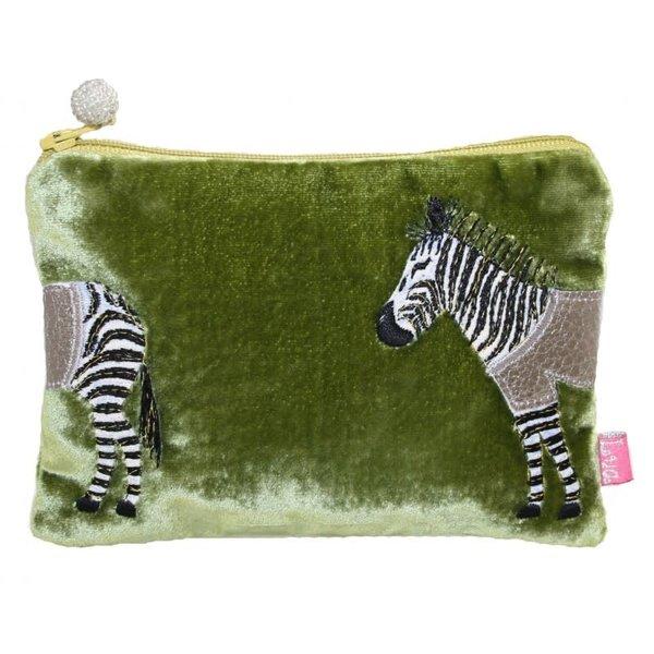 Zebra Applique Velvet purse olive 164