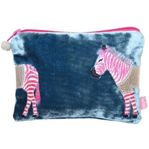 LUA Bolso Zebra Applique Terciopelo Azul Petróleo 167