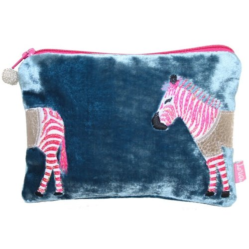 LUA Zebra Applique Velvet purse Petrol Blue 167