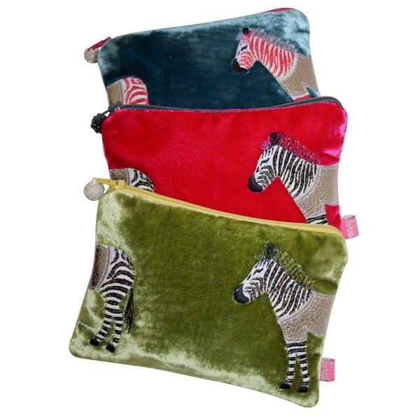 Zebra Applique Velvet purse Hot Pink 166