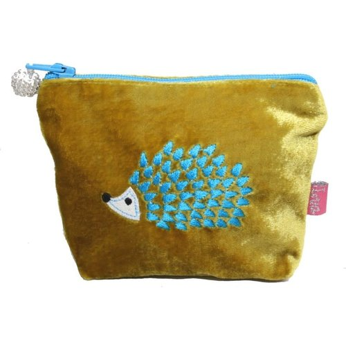 LUA Hedgehog Embroidered Velvet Mini Purse Mustard 204