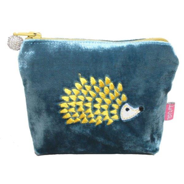 Hedgehog Embroidered Velvet Mini Purse Petrol Blue 206