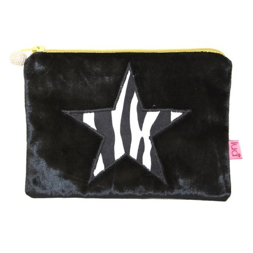 LUA Zebra Print Velvet Mini Purse Petrol Black 207