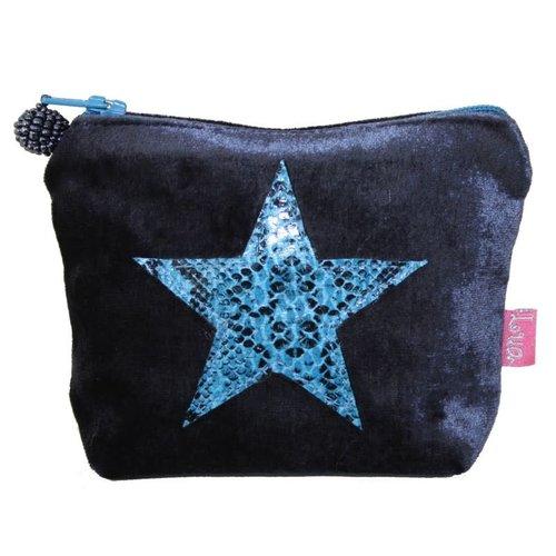 LUA Mini monedero de piel de serpiente Star Velvet Blue 210