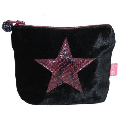LUA Mini monedero de piel de serpiente Star Velvet Black 211