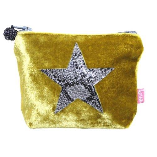 LUA Mini monedero de piel de serpiente Star Velvet Mostaza 215