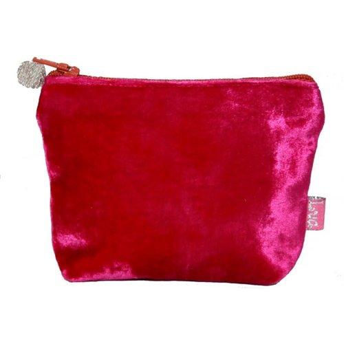 LUA Mini Monedero Terciopelo Rosa Fuerte 224
