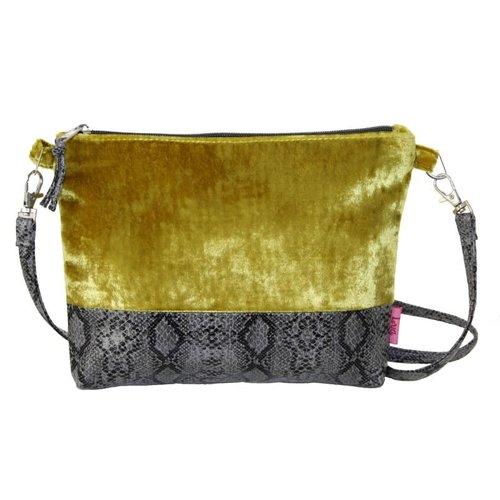 LUA Snakeskin Velvet Strap Bag Mustard 240