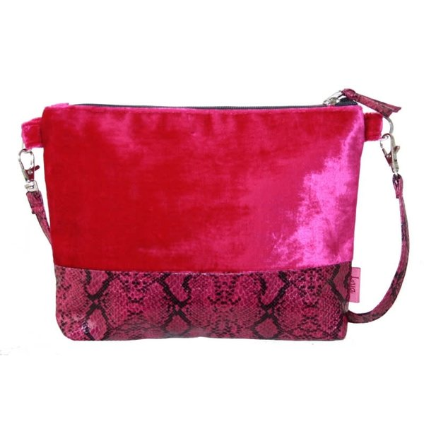 Snakeskin Velvet Strap Bag Hot Pink 239
