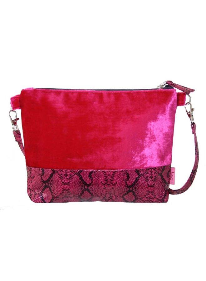 Snakeskin Velvet Strap Bag Pink 239