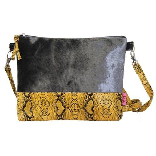 LUA Snakeskin Velvet Strap Bag Grau 238