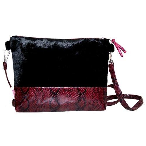 LUA Snakeskin Velvet Strap Bag Black 237