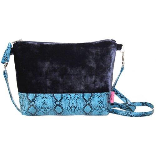 LUA Snakeskin Velvet Strap Bag Blue 236
