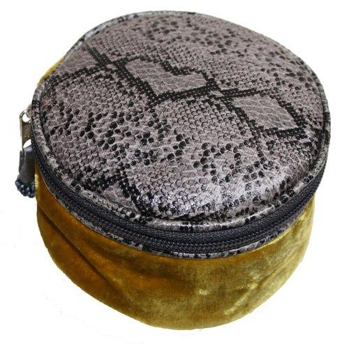 LUA Snakeskin Velvet Round Jewellery Purse Mustard 233