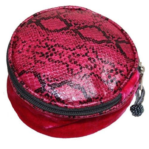 LUA Snakeskin Velvet Round Jewellery Purse Pink 234