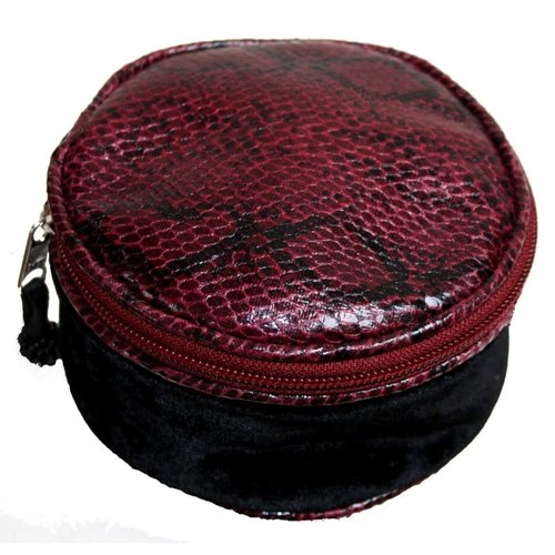 LUA Snakeskin Velvet Round Jewellery Purse Black 231