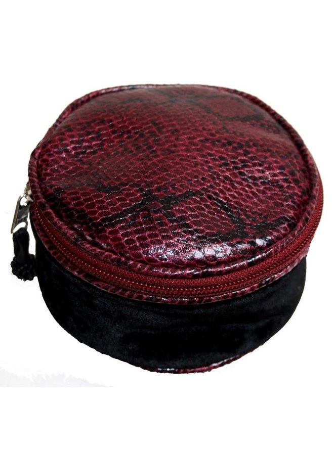 Snakeskin Velvet Round Jewellery Purse Black 231