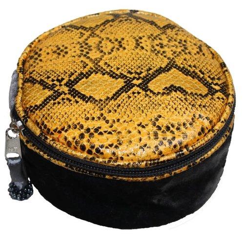 LUA Snakeskin Velvet Round Jewellery Purse Grey 232