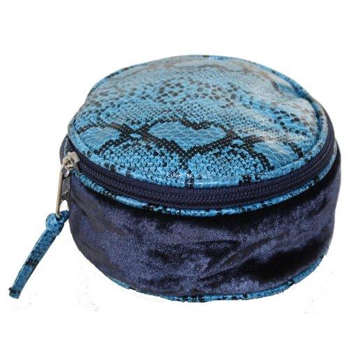 LUA Snakeskin Velvet Round Jewellery Purse Blue 230
